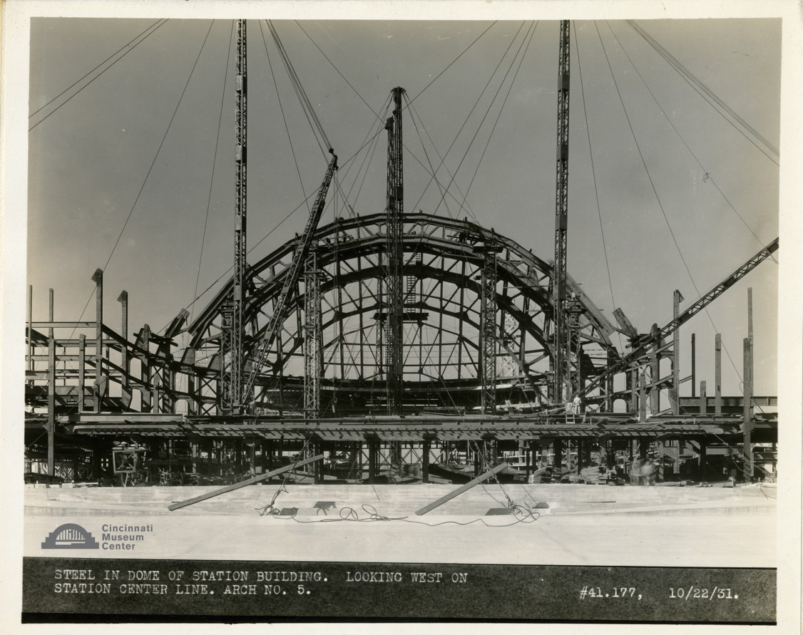 historic image of union terminal being constructed