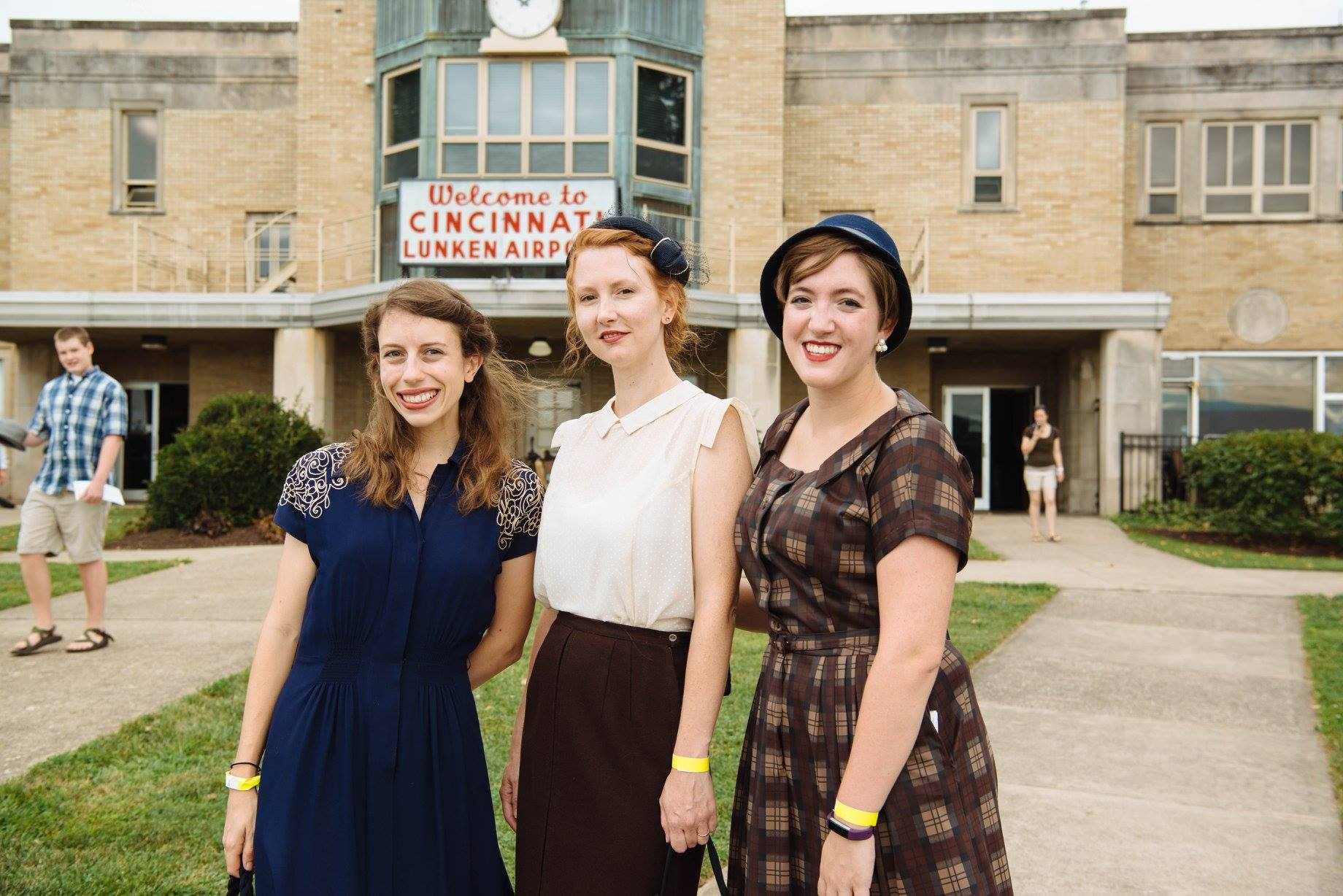 image of interns at 1940s day at lunken airport